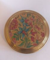 Floral enamelled vintage powder compact