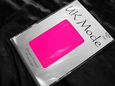 NEW 40 DENIER UK MODE TIGHTS CLUBBING CYBER OPAQUE NEON PINK - SMALL TO MEDIUM