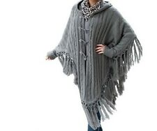 Women's Winter Fall Spring Hooded Toggle Cape Sweater coat jacket plusXL1X 2X 3X