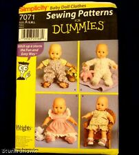 Simplicity 7071 Three Sizes! Baby Doll Clothes Patterns