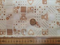 Poly Cotton Fabric * Baby Nursery Teddy Heart Ball Star Dot * CREAM Check