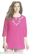 Clothing Just My Size Stud Tunic Top ~Smokin Hot Pink Color~Size 2XL (18W-20W)