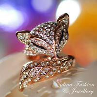 18K Rose Gold Plated Made With Swarovskis Crystal Large Charming Fox Ring