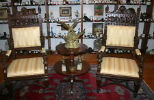 Eighteen Century Carved Fine Pair Of Italian Arm Chairs Figurine  MAGNIFICENT