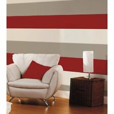 Red Cream Silver 3 Stripe Wallpaper Colour Pattern Textured Feature Wall