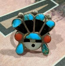 Indian Jewelry Ring Hopi Sun Symbol Size 6 Turquoise Silver Red Coral Old Pawn