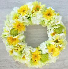 Türkranz Sommer Seidenblumen gelb weiß grün Blütenkranz Tischkranz Sommerkranz