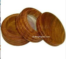 """NEW 4"""" Round Wood Powder Sifter Box with Screw On/Off Top & Bottom FREE SHIPPING"""