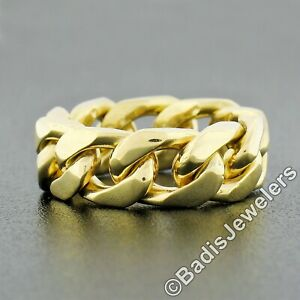 18K Yellow Gold 7.2mm Solid Cuban Curb Link Polished Finish Flexible Ring Sz 5.5