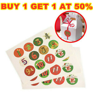 120Pcs Christmas Stickers Seal Advent Calendar Numbers 1-24 Embellishments Gift