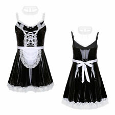 Herren Sissy Kleid Wetlook Dienstmädchen Kostüm Outfit Crossdresser Dessous Set