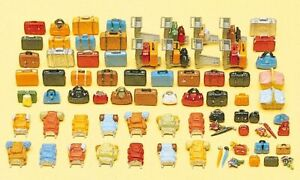 Preiser HO Scale Model Scenery Detail Set Luggage Assortment (Suitcases/Bags)