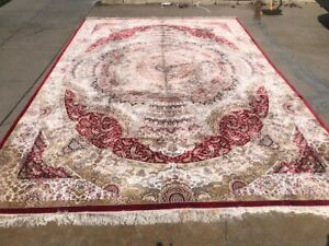 SUPER QUALITY ALL SILK ORIENTAL RUG FINE HANDWOVEN