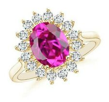 14KT Solid Yellow Gold 1.72Ct Natural Pink Tourmaline EGL Certified Diamond Ring
