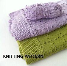 (286) Baby Blanket COPY Knitting Pattern, Easy Knit Design in Cotton/Acrylic DK