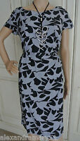 NEW EX WHITE STUFF BIRD PRINT BELTED TEA DRESS SHIFT TUNIC GREY BLACK SZ 8 - 18