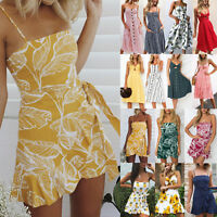 Women Summer Beach Strappy Mini Dress Boho Floral Swing Sundress Holiday Clothes