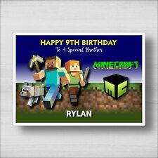 C32 Personalised Minecraft Birthday Card - Girl or Boy - Any Name and Age