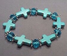 Christian Bracelet MINIATURE CROSSes Matched Facet Crystal Accent Bead TURQUOISE