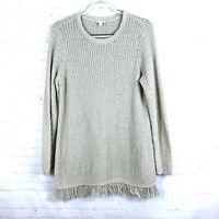J Jill Women's Size M Beige Fringe Sweater Tunic Cotton Blend
