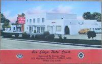 Tupelo, MS 1940s Linen Postcard: Rex Plaza Hotel Court - Mississippi Miss