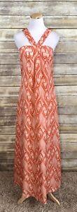Eliot J. Crew Anthropologie Orange Fish Maxi 100% Silk Maxi Dress SAMPLE