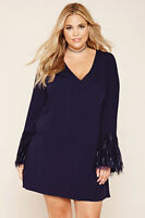 Forever 21 Plus Size Navy Lace Shift Dress 1X