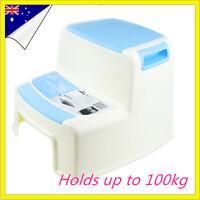 Blue Kitchen Portable Plastic 2 Step Stool Bathroom Kids toilet training Adult