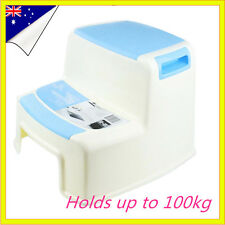 Blue Kitchen Portable Plastic 2 Step Stool Bathroom Kids toilet training Adult