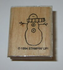 Snowman Rubber Stamp Winter Snow Stampin Up Retired Design Scarf Wood Mounted #2