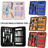 15pcs Manicure Pedicure Set Stainless Nail Clippers Kit Cuticle Grooming +Case