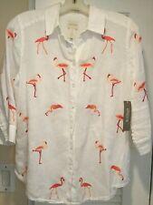 CHICO LINEN FLAMINGO EMBROIDERED Linen button down shirt size 0 /4/6 Petite