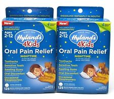 2 HYLAND'S 4 Kids ORAL PAIN RELIEF Ages 2-12 Homeopathic 125 Tabs each NIB