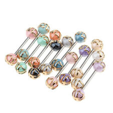 12pcs Colorful Ball Tongue Nipple Bar Ring Barbell Body Jewelry Piercing