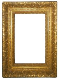 LATE 19TH C AMERICAN ANTIQUE VICTORIAN GOLD LEAF/GILT WOOD ORNATE/DEC PIC FRAME