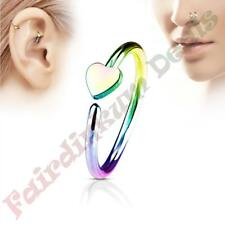 316L Surgical Steel Rainbow Ion Plated Nose & Ear Cartilage Ring with Heart