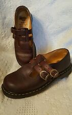Doc Dr. Martens shoes sz 10 US 8 UK Brown Two Strap Buckle Mary Janes AW004