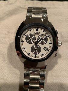 Rado Swiss Watch Chronograph 36mm Silver White Dial Steel Band Refurbished Works