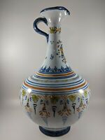 Vintage Yellow Blue & White Ceramic Pitcher Jug Ewer Bottle - European Pottery