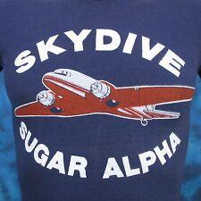 vintage 80s SKYDIVE SUGAR ALPHA BUTTERY SOFT T-Shirt XXS skydiving plane thin