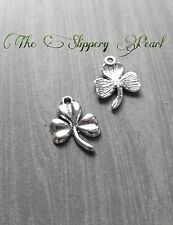 Shamrock Charms Clover Charms Pendants Antiqued Silver 10pcs Good Luck Charms
