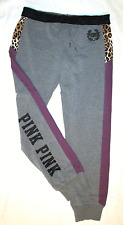 Victorias Secret PINK Gym Sweat Pant Gray w/ Leopard,Maroon & PINK Graphic S NWT
