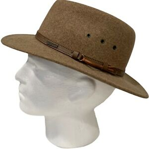 PENDLETON Brown Wool Hat Fedora L Large Leather Band Made USA Mint!