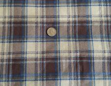 "Flannel Tartan Plaid Cotton Fabric BROWN WHITE BLUE OLIVE GREEN 45""W x BTY"