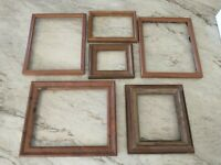Vintage 6 Wood PICTURE FRAME Lot Recycle Arts Crafts Project Deco geo repurpose