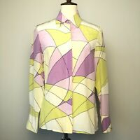 Vintage Womens Retro Silk Blouse Mxit Size 4 Multicolor Funky Semi Sheer