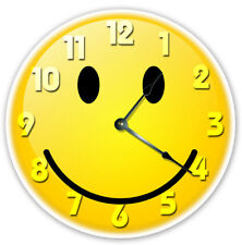"""12"""" YELLOW SMILEY FACE CLOCK - Large 12 inch Wall Clock - Printed Photo - 2018"""