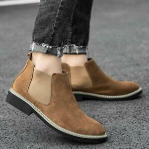 Mens Western Faux Suede Chelsea Boots Slip On Loafer Ankle Boots Shoes Plus Size