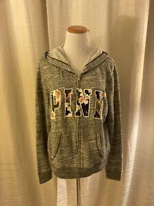 Victoria's Secret Love PINK Sweatshirt Tropical Heather Gray Zip Up Hoodie L