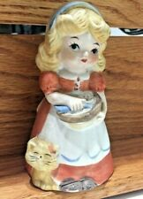 Vintage 70's - Bisque Porcelain Bell - Lovely Girl with Bowl and Cat